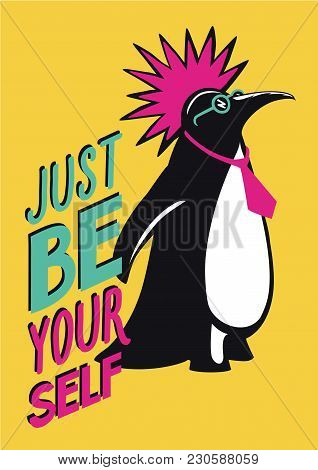 Humorous Illustration With Penguin Punk. Underground Party Poster.