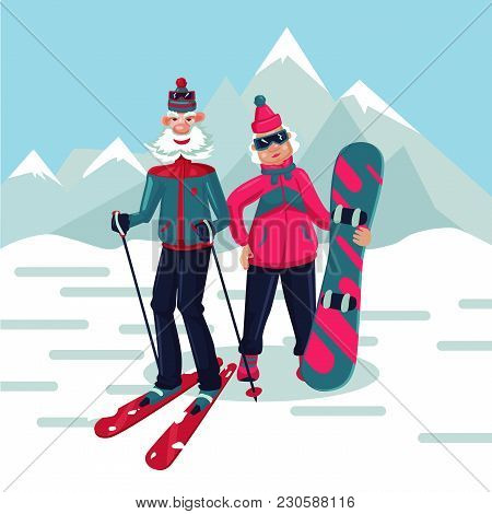 Old Lady And Man On A Ski Resort. Senior Adult Couple Cartoon Characters.