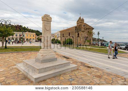 Zakynthos, Greece - September 29, 2017: Solomos Square On The Island Of Zakynthos With Ancient Churc