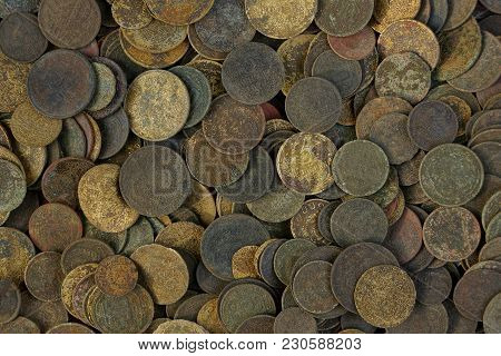 Texture Of Old And Dirty Soviet Coins In The Heap