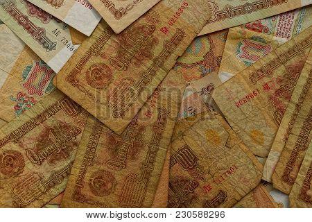 Texture Of Old Yellow Soviet Money Bills