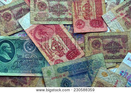 Texture Of Colored Old Soviet Soviet Money Bills
