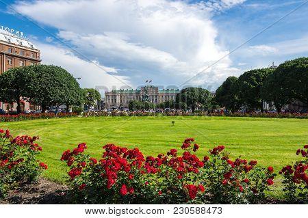 Saint Isaac's Square In Saint Petersburg