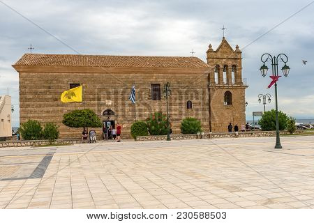 Zakynthos, Greece - September 29, 2017: The Ancient Church Of St. Nicholas Of The Mole Located On So