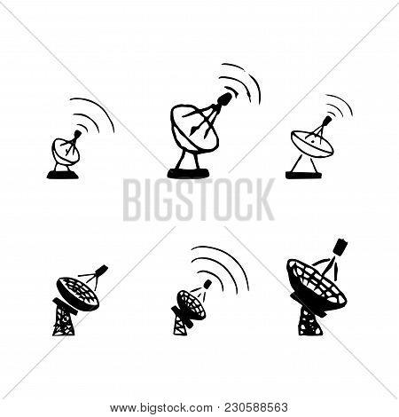 Vector Set Of Hand Drawing Satellite Dish. Sketch Satellite Antenna
