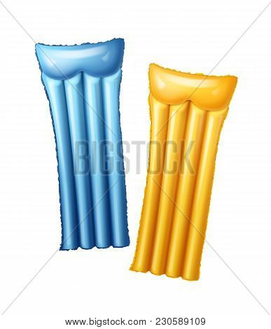 Vector Two Blue And Yellow Air Pool Mattress. Isolated On White Background