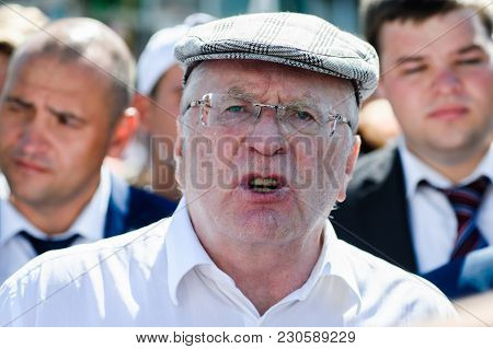 Orel, Russia - August 05, 2016: Orel City Day. Vladimir Zhirinovsky Talking Emotionally Front View