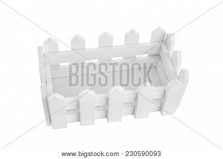 Wooden Box In The Form Of A Fence. Isolated On White Background.