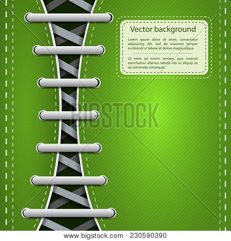 Light Footwear Shoelace Template For Hipster Sneakers Or Gumshoes On Green Slanting Lines Background