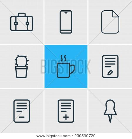 Vector Illustration Of 9 Workplace Icons Line Style. Editable Set Of Deleting, Pin, Computer And Oth