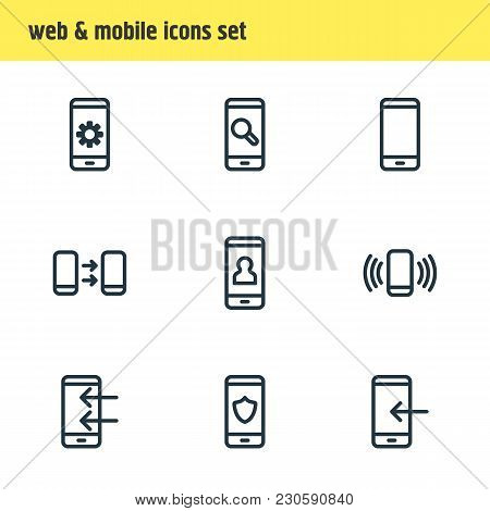 Vector Illustration Of 9 Telephone Icons Line Style. Editable Set Of Apps, Search, Pinpoint And Othe