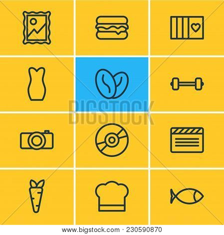 Vector Illustration Of 12 Entertainment Icons Line Style. Editable Set Of Veggie, Arabica Bean, Barb