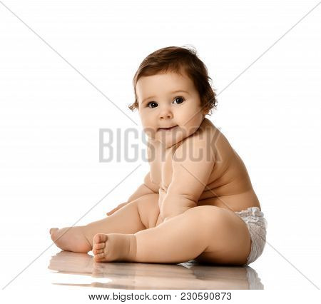 Infant Baby Girl Toddler Fat Over Weight Sitting Happy Smiling Isolated On White Background