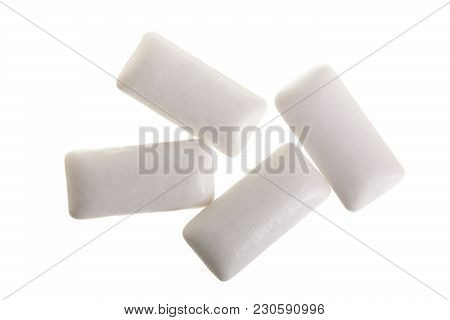 Chewing Or Bubble Gum Isolated On White Background. Top View.