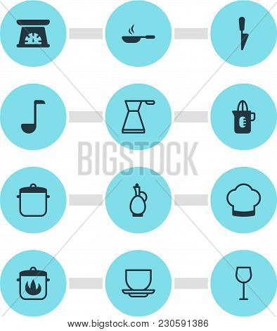 Illustration Of 12 Restaurant Icons. Editable Set Of Decanter, Cooking Hat, Squeezer And Other Icon