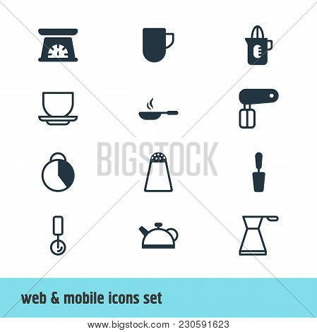 Illustration Of 12 Kitchenware Icons. Editable Set Of Skillet, Pot, Salt Cellar And Other Icon Eleme