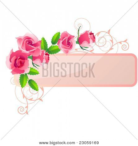Ornate banner with roses