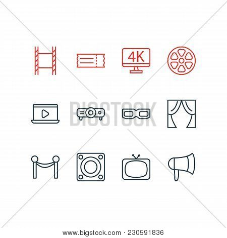 Illustration Of 12 Cinema Icons Line Style. Editable Set Of Filmstrip, Slideshow, Tv And Other Icon