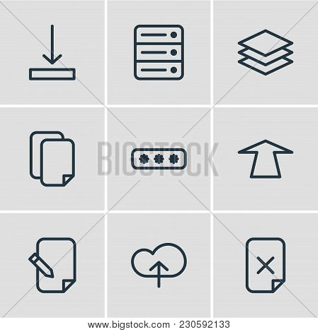 Illustration Of 9 Archive Icons Line Style. Editable Set Of Database, Remove, Layer And Other Icon E