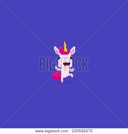 Pixel Art 8-bit Dancing Happy Unicorn With Pink Hair