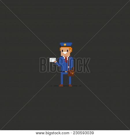 Pixel Art Mailman In Blue Uniform Holding An Envelope