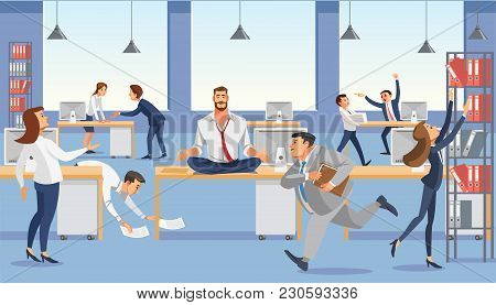 Business Man Sit On Table In Office. Calp In Meditation Relax. Stressed Vector Cartoon Characters.