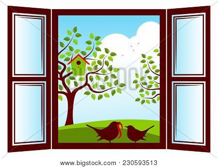 Vector Mother Bird And Baby Bird In The Window And Trees With Nesting Bird Box Outside The Window