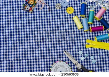 Top View Of Workshop With Needlework Details And Tools Mock-up Needlework
