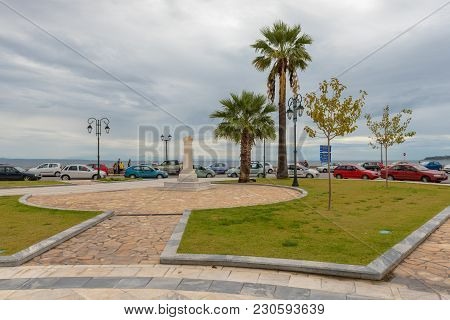 Zakynthos, Greece - September 29, 2017: View Of Palm Trees And Sea From Main Square In Zakynthos Tow
