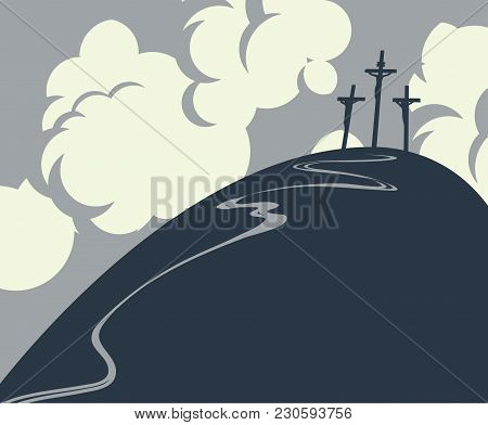 Vector Easter Banner With Mount Calvary And Crosses At Sky With Clouds