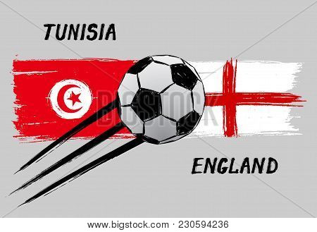 Flags Of Tunisia And England - Icon For Football Championship - Grunge