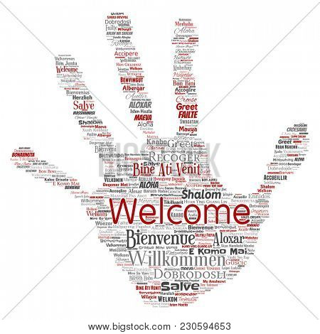 Conceptual abstract welcome or greeting international hand print stamp word cloud in different languages or multilingual. Collage of world, foreign, worldwide travel translate, vacation tourism