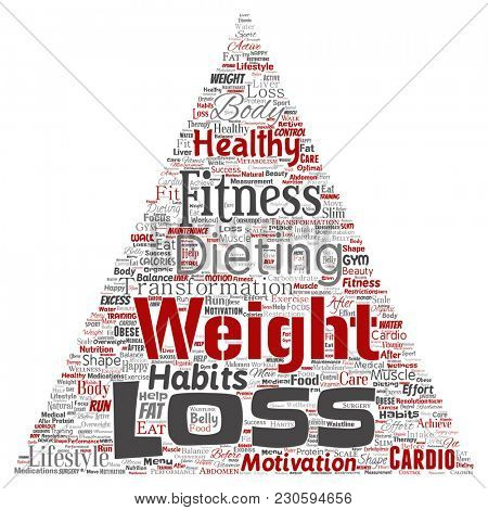 Conceptual weight loss healthy diet transformation triangle arrow word cloud isolated background. Collage of fitness motivation lifestyle, before and after workout slim body beauty concept