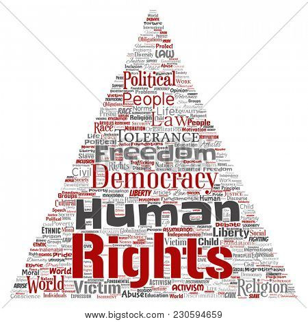 Conceptual human rights political freedom, democracy triangle arrow  word cloud isolated background. Collage of humanity tolerance, law principles, people justice or discrimination concept