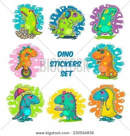 Cool Dino Doodle Vector Stickers