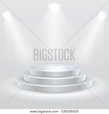 Round Podium Illuminated By Spotlights. Empty Ceremony Pedestal. Vector Illustration