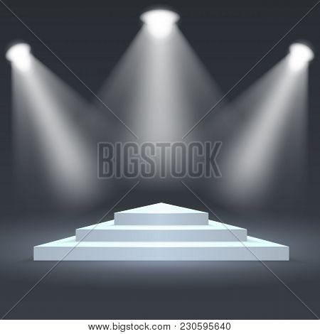 Triangle Podium Illuminated By Spotlights. Empty Ceremony Pedestal. Vector Illustration