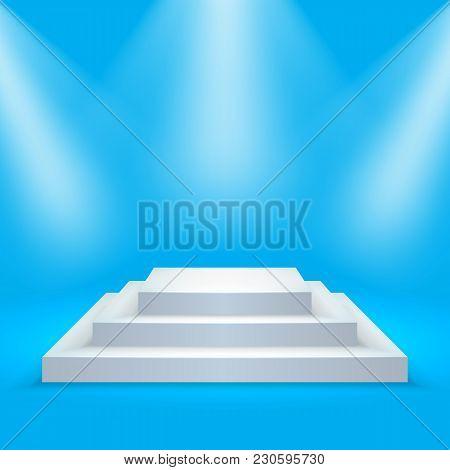 Square Podium Illuminated By Spotlights. Empty Ceremony Pedestal. Vector Illustration