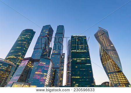 Evening View Of The Moscow-city Business Center