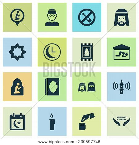 Religion Icons Set With Muslim, Adhaan, Holy Book And Other Koran  Elements. Isolated Vector Illustr