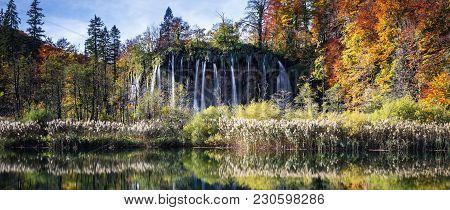 Waterfalls In Plitvice National Park, Croatia, Europe.