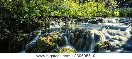 Waterfalls In The Sunshine In Plitvice National Park, Croatia