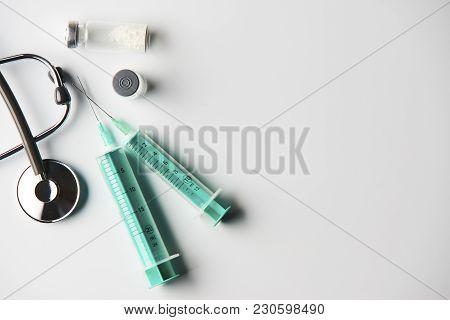 Medical Equipment On Doctor's Desk