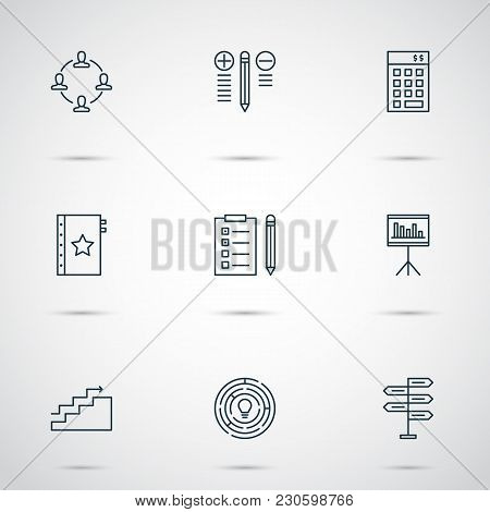 Management Icons Set With Quality Management, Financial Budget, Idea Brainstorming And Other Warrant