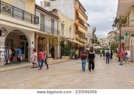 Zakynthos, Greece - September 29, 2017: Promenade With Shops And Restaurants In Zante Town. Zakyntho