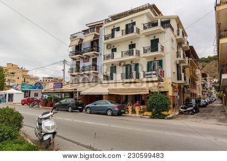 Zakynthos, Greece - September 29, 2017: Traditional Greek Style Architecture In Zante Town. Zakyntho