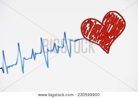 Cardiogram Pulse Trace And Red Heart Concept For Cardiovascular Medical Exam On A White Background W