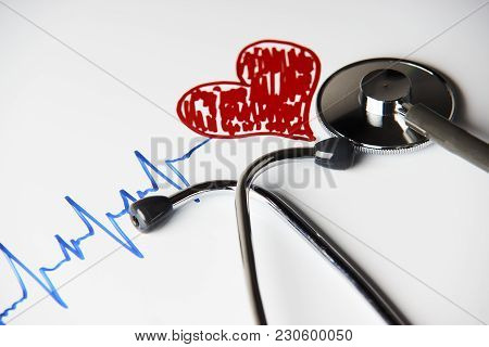 Cardiogram Pulse Trace With Red Heart And Medical Stethoscope Concept For Cardiovascular Medical Exa