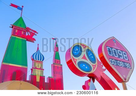 Moscow, Russia - March, 2018: The Watch With Blue Sky, Which Shows The The Countdown Before The Star