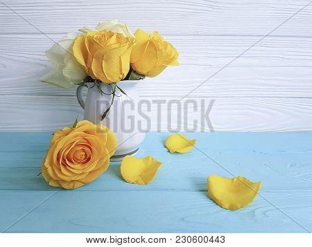Yellow Rose Chrysanthemum Vase Wooden Background Mothers Day, Vase, Chrysanthemum